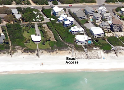 aerial view of Seagrove Florida beach rental Point of View