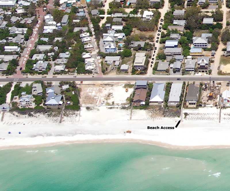 Aerial View of Summer Shade Beach House Rental
